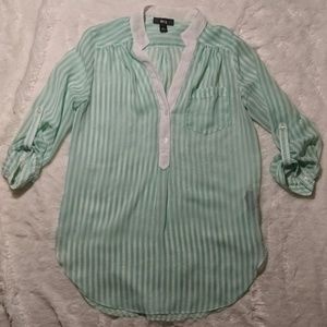 BUNDLE ONLY BCX teal and white striped blouse